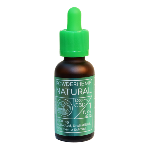 one ounce bottle of POWDERHEMP Natural 1000 mg CBD Oil Spearmint flavor