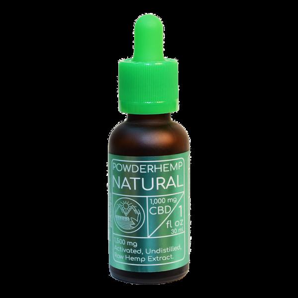 one ounce bottle of POWDERHEMP Natural 1000 mg CBD Oil Spearmint flavor