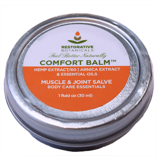 one fluid ounce tin of Restorative Botanicals Comfort Balm muscle & joint salve with 60 mg of hemp extract