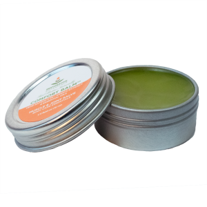 one half ounce tin of Restorative Botanicals Comfort Balm with 30 mg of hemp extract