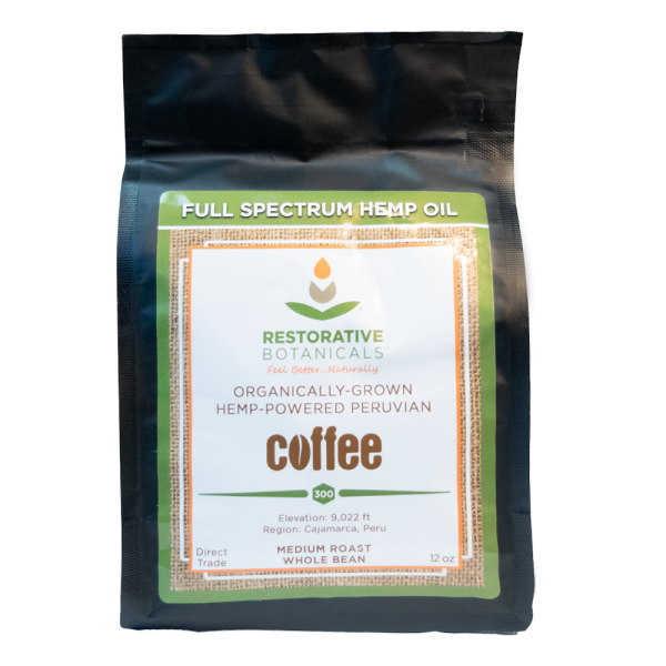 12 ounce bag of coffee whole bean hemp infused Peruvian coffee beans