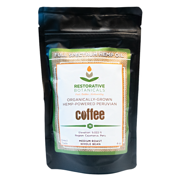 four ounce bag of coffee whole bean hemp infused Peruvian coffee beans