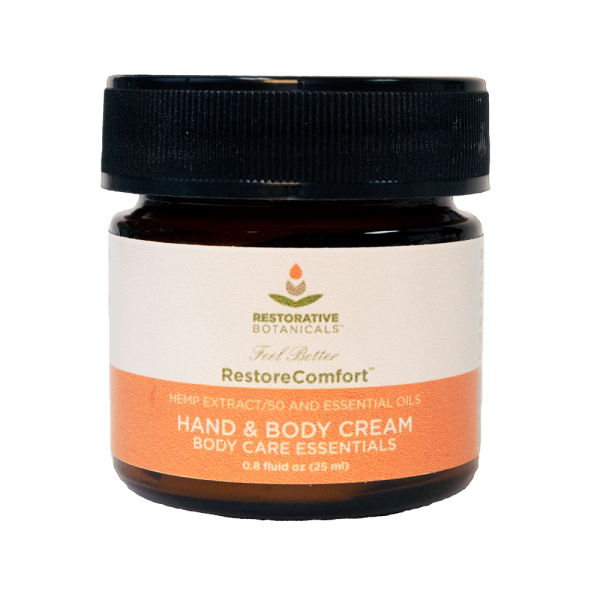 .8 fluid ounce jar of Restorative Botanicals Restore Comfort hand and body cream hemp extract