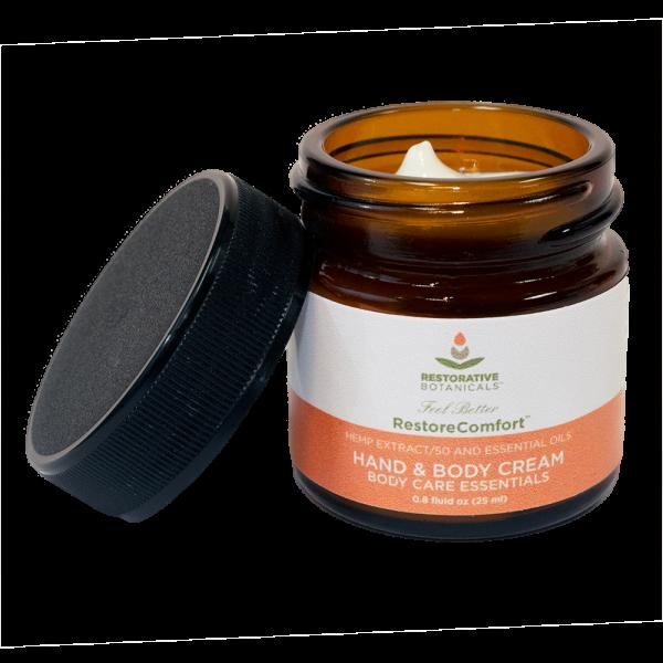 .8 fluid ounce open jar of Restorative Botanicals Hand & Body cream