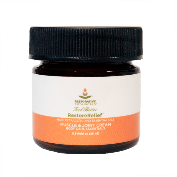 .8 fluid ounce jar of Restorative Botanicals Restore Relief muscle and joint cream hemp extract