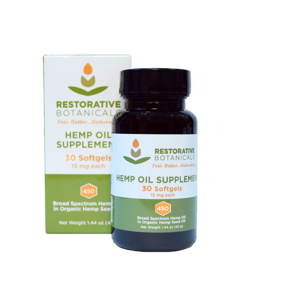 hemp oil supplement bottle next to box of Restorative Botanicals Hemp Oil Supplement Softgels. 30 count 15 mg each