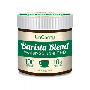 100 serving jar of Uncanny Barista Blend Water-soluble CBD with 10mg cbd per serving