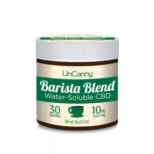30 serving jar of Uncanny Barista Blend Water-soluble CBD with 10 mg of CBD per serving