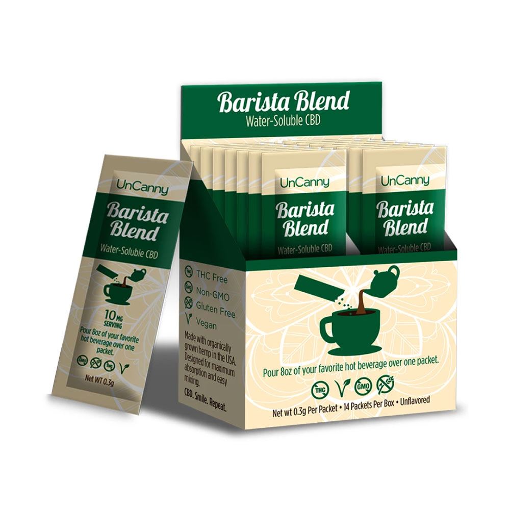 14 single serve box of Uncanny Barista Blend Water-soluble CBD with each serving containing 10 mg CBD per serving