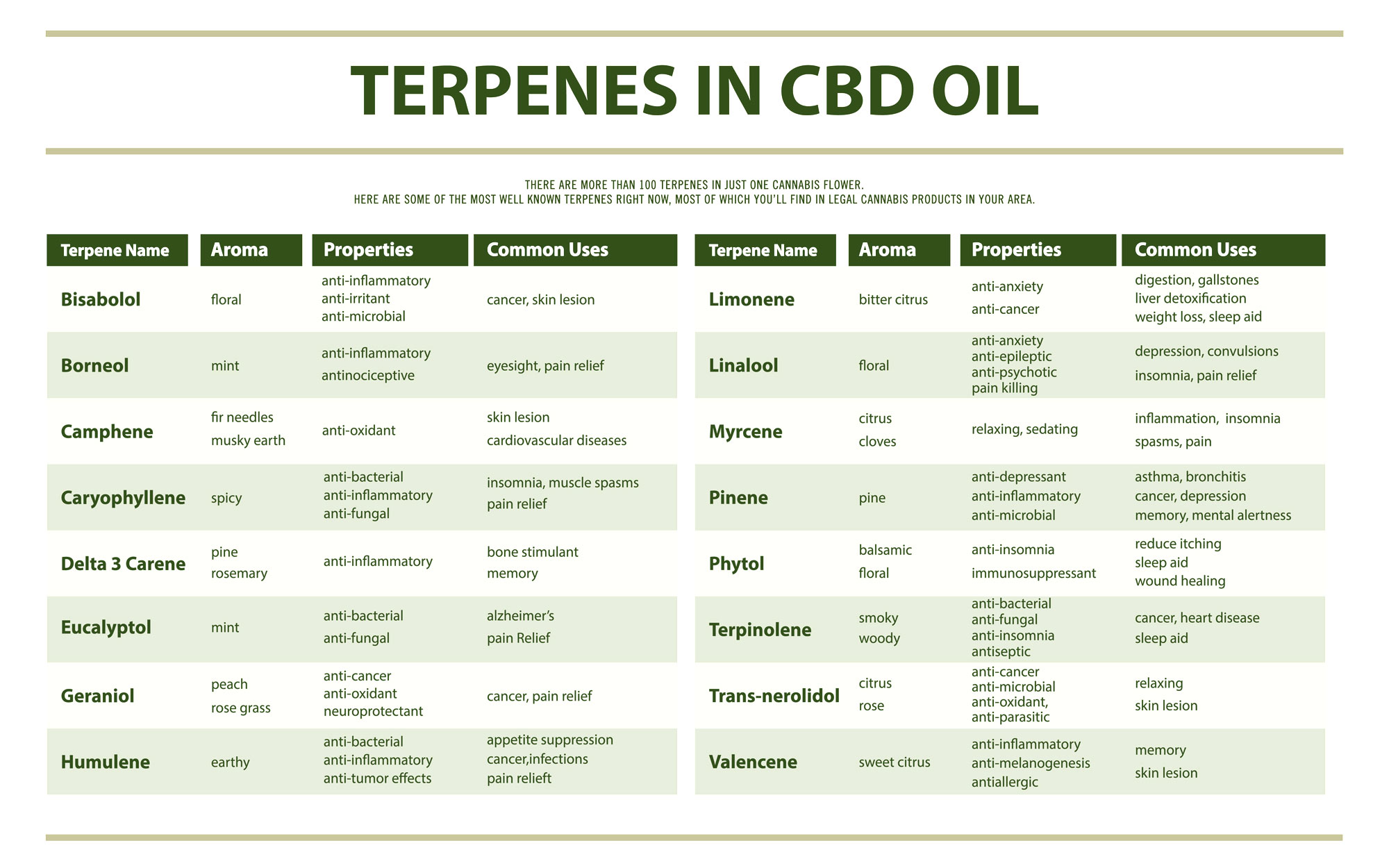 slide chart illustrating the terpenes found in CBD oil