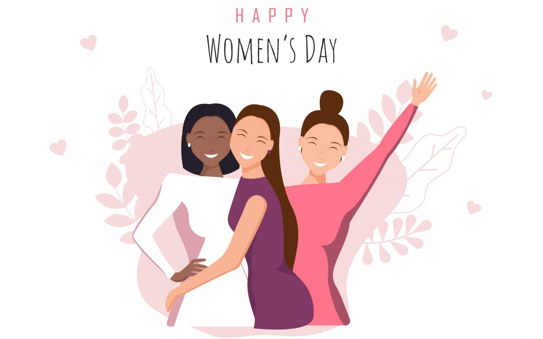 three women hugging, happy about International Women's Day